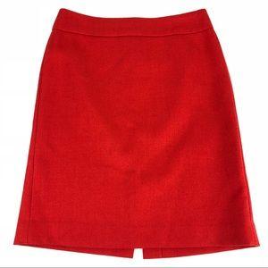 J Crew 100% Wool Pencil Knee Skirt Orange - 8 FLAW